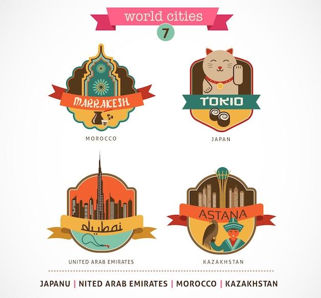 Etichette e simboli delle città del mondo: marrakesh, tokio, astana, dubai