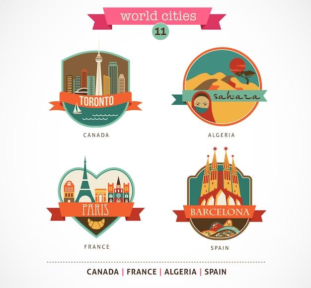 Etichette e simboli delle città del mondo: parigi, toronto, barcellona, sahara
