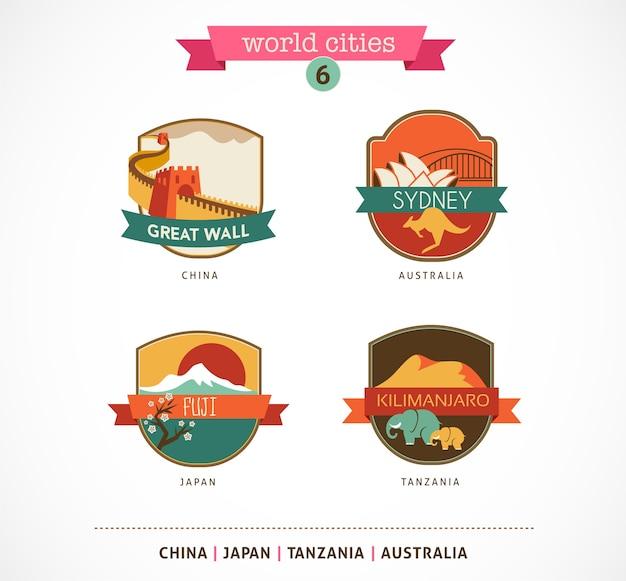 Etichette e simboli delle città del mondo: sydney, grande muraglia, fuji, kilimanjaro