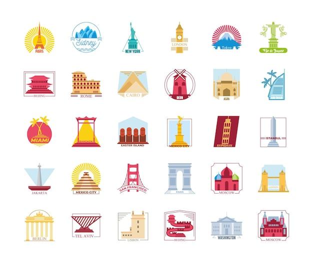Design della collezione di francobolli della città del mondo, turismo di viaggio e illustrazione del tema del tour