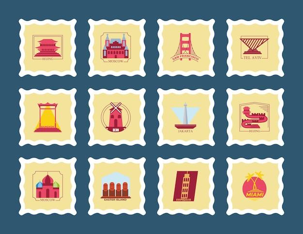 Collezione di icone di francobolli di città del mondo, turismo di viaggio e illustrazione di tema di tour