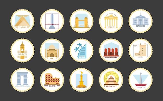 Progettazione del gruppo dell'icona di francobolli della città del mondo, turismo di viaggio e illustrazione del tema del tour