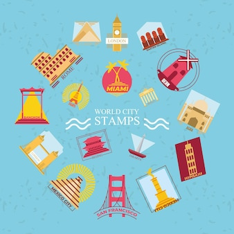 Collezione di simboli di francobolli di città del mondo, turismo di viaggio e tema di tour
