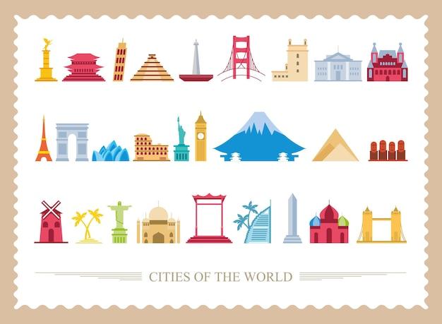 Set di simboli di francobolli di città del mondo, turismo di viaggio e illustrazione di tema di tour