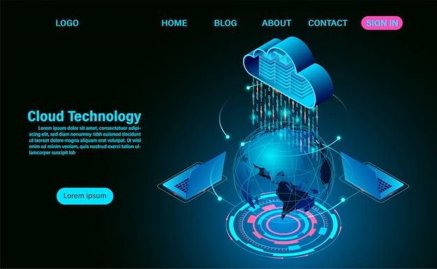 Concetto di tecnologia cloud mondiale. tecnologia informatica online. concetto di elaborazione del flusso di grandi quantità di dati sulla mappa. illustrazione isometrica design piatto