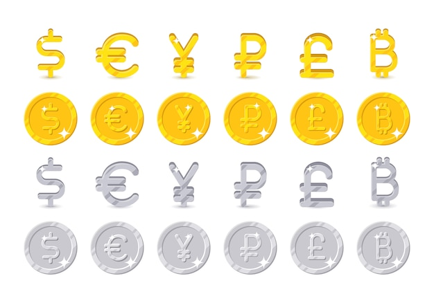 Segni e monete in valuta mondiale