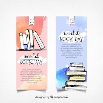 Mondo striscioni giorno libro acquerello
