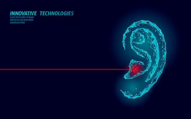 Giornata mondiale dell'udito sordo. organo umano basso poli. manifesto dell'illustrazione di consapevolezza di prevenzione dell'aiuto del centro medico dell'innovazione futuristica della linea del punto poligonale del triangolo