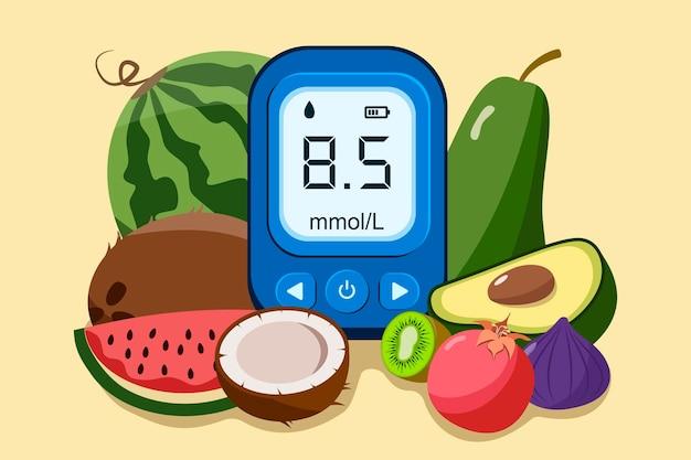 Consapevolezza della giornata mondiale del diabete. banner di giornata mondiale del diabete con glucometro elettronico e illustrazione di verdure fresche.