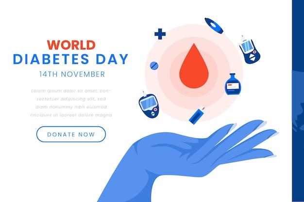 Disegno del modello di banner giornata mondiale del diabete
