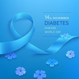 Giornata mondiale del diabete, nastro blu con fiori phlox su sfondo blu.