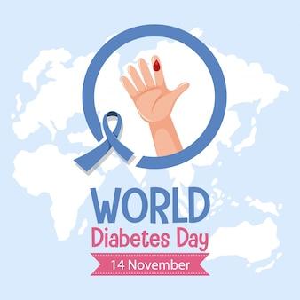 Logo o banner della giornata mondiale del diabete con nastro blu e goccia di sangue sul dito