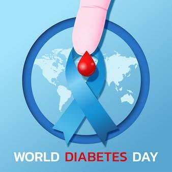 Logo o banner per la giornata mondiale del diabete con nastro blu e goccia di sangue sul dito.