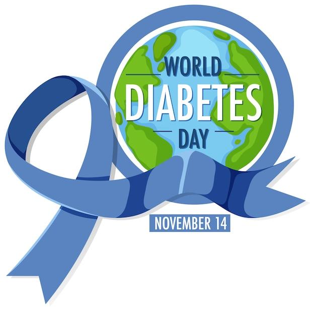 Logo o banner della giornata mondiale del diabete con nastro blu e globo