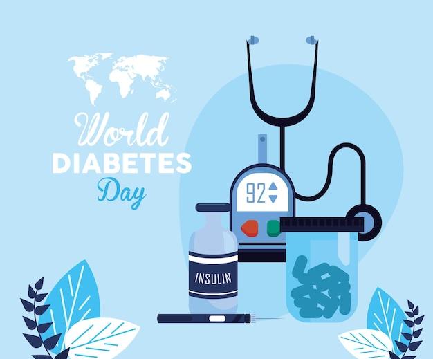 Cartolina della giornata mondiale del diabete