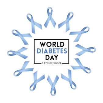 Disegno dell'illustrazione vettoriale della giornata mondiale del diabete con motivo a nastri blu per la consapevolezza
