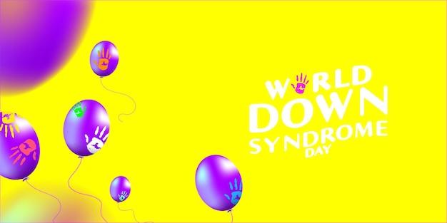 Palloncino giornata mondiale della sindrome di down e concetto di pittura a mano di palma
