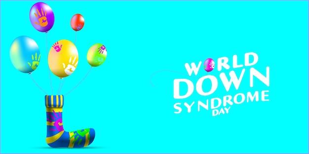 Palloncino della giornata mondiale della sindrome di down e pittura a mano di palma in calzini