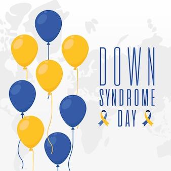 Giornata mondiale della sindrome di down palloncini design, consapevolezza della disabilità e tema di supporto illustrazione vettoriale