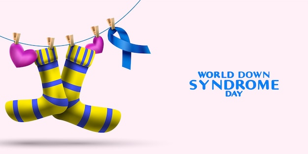 Concetto di giornata mondiale della sindrome di down con calze e simbolo di consapevolezza del nastro