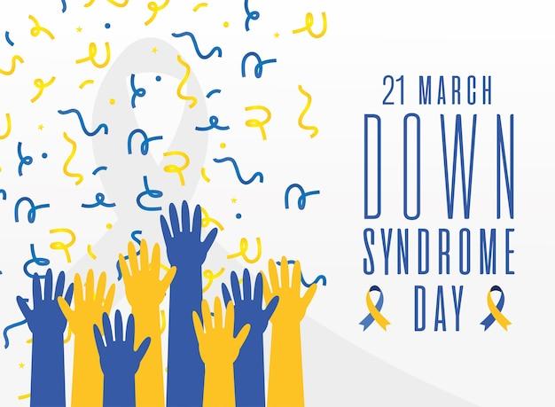 Giornata mondiale della sindrome di down mani in alto e design di coriandoli, consapevolezza della disabilità e tema di supporto illustrazione vettoriale