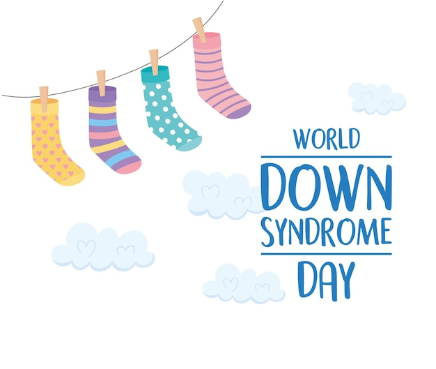 Giornata mondiale della sindrome di down, appeso calze decorazione nuvole sfondo