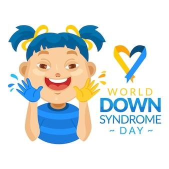 Illustrazione della giornata mondiale della sindrome di down Vettore Premium