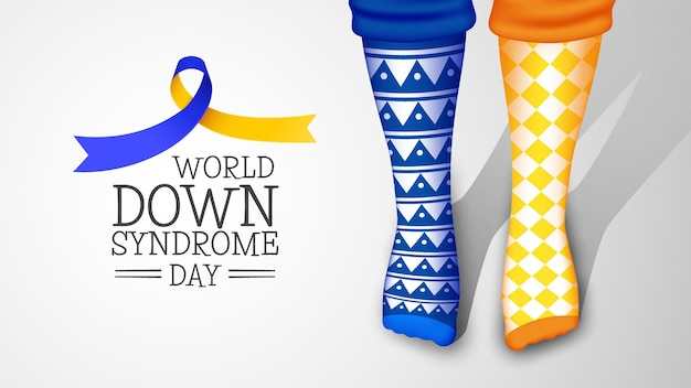 Calzini diversi realistici della giornata mondiale della sindrome di down
