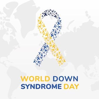 Disegno del nastro della giornata mondiale della sindrome di down, consapevolezza della disabilità e tema di supporto illustrazione vettoriale