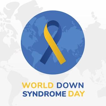 Nastro della giornata mondiale della sindrome di down sul design del pianeta, consapevolezza della disabilità e tema di supporto illustrazione vettoriale