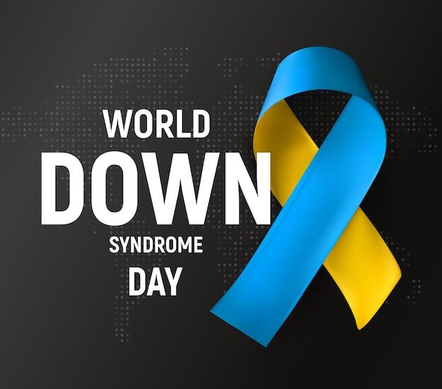 Simbolo della giornata mondiale della sindrome di down illustrazione vettoriale simbolo medico di consapevolezza del nastro blu e giallo