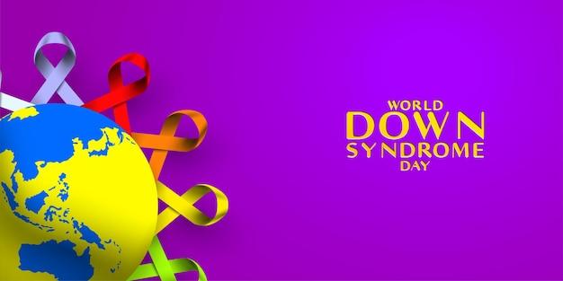 Giornata mondiale della sindrome di down con mappa del mondo del globo e consapevolezza del segno del nastro colorato del cerchio del telaio