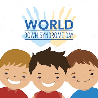 Giornata mondiale della sindrome di down con le mani stampano vernice e ragazzi