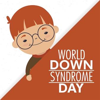 Giornata mondiale della sindrome di down con il ragazzino che indossa gli occhiali