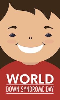 Giornata mondiale della sindrome di down con il ragazzino
