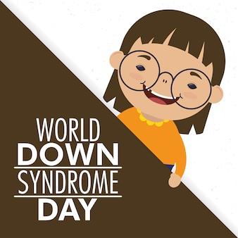 Giornata mondiale della sindrome di down con la bambina che indossa gli occhiali
