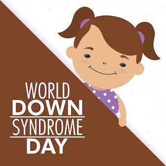 Giornata mondiale della sindrome di down con la bambina Vettore Premium