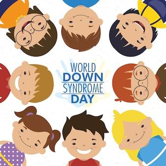 Giornata mondiale della sindrome di down con bambini piccoli in giro