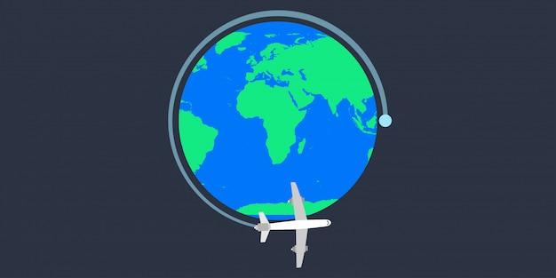 Illustrazione di vettore dell'aereo del tavel della terra del mondo.