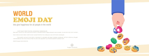 Banner del concetto di giornata mondiale delle emoji Vettore Premium