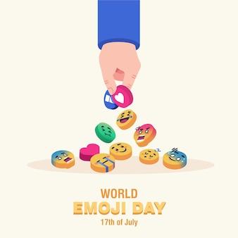 Illustrazione della giornata mondiale delle emoji. mano che prende l'illustrazione piana del concetto di spilla emoji