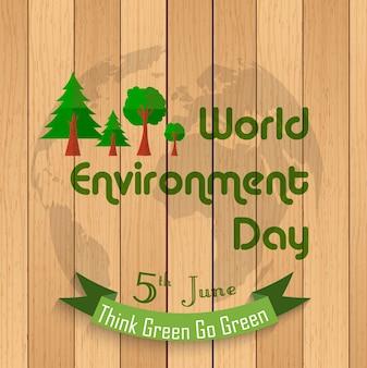 Insegna di giornata mondiale dell'ambiente su fondo di legno