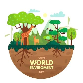 Concetto di celebrazione della giornata mondiale dell'ambiente