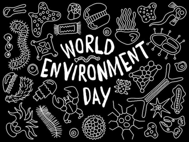 La giornata mondiale dell'ambiente scarabocchia lo sfondo del modello di sfondo di vari microrganismi con infettivo