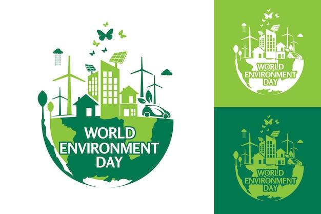 Modello di progettazione di logo di giornata mondiale dell'ambiente