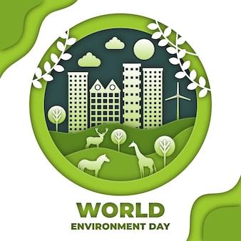 Giornata mondiale dell'ambiente in stile carta sullo sfondo