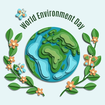 Giornata mondiale dell'ambiente in stile carta