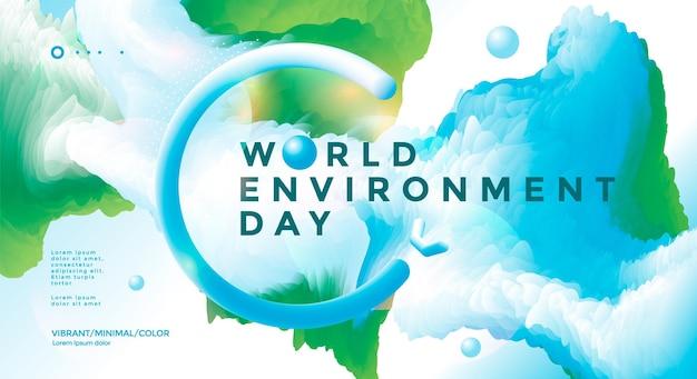 Design del poster della giornata mondiale dell'ambiente con forma fluida verde e blu. illustrazione vettoriale