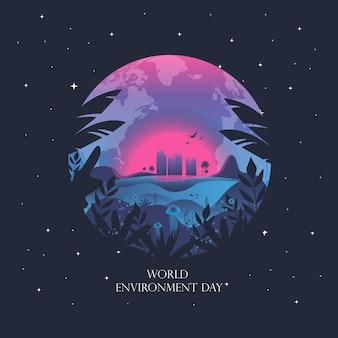 Giornata mondiale per l'ambiente. giornata mondiale degli oceani. salvare il pianeta. illustrazione vettoriale ispirata alla musica da discoteca degli anni '80, sfondo 3d, neon, ecologia, il nostro mondo e gli oceani, il mondo sottomarino al tramonto.
