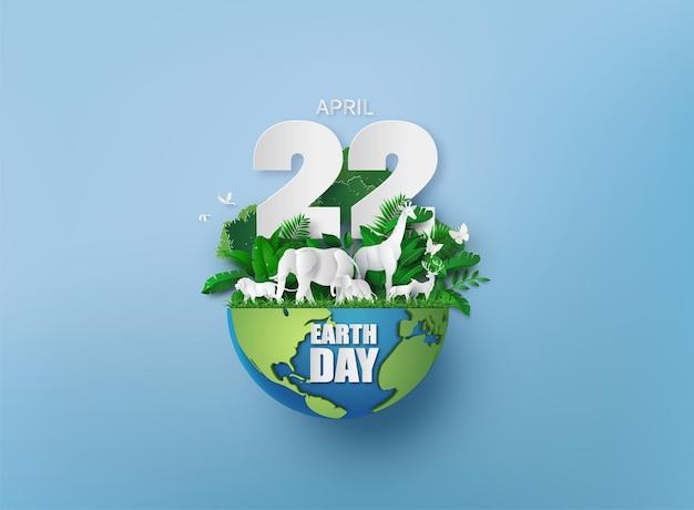 Ambiente mondiale e concetto di giornata della terra con animali, stile taglio carta